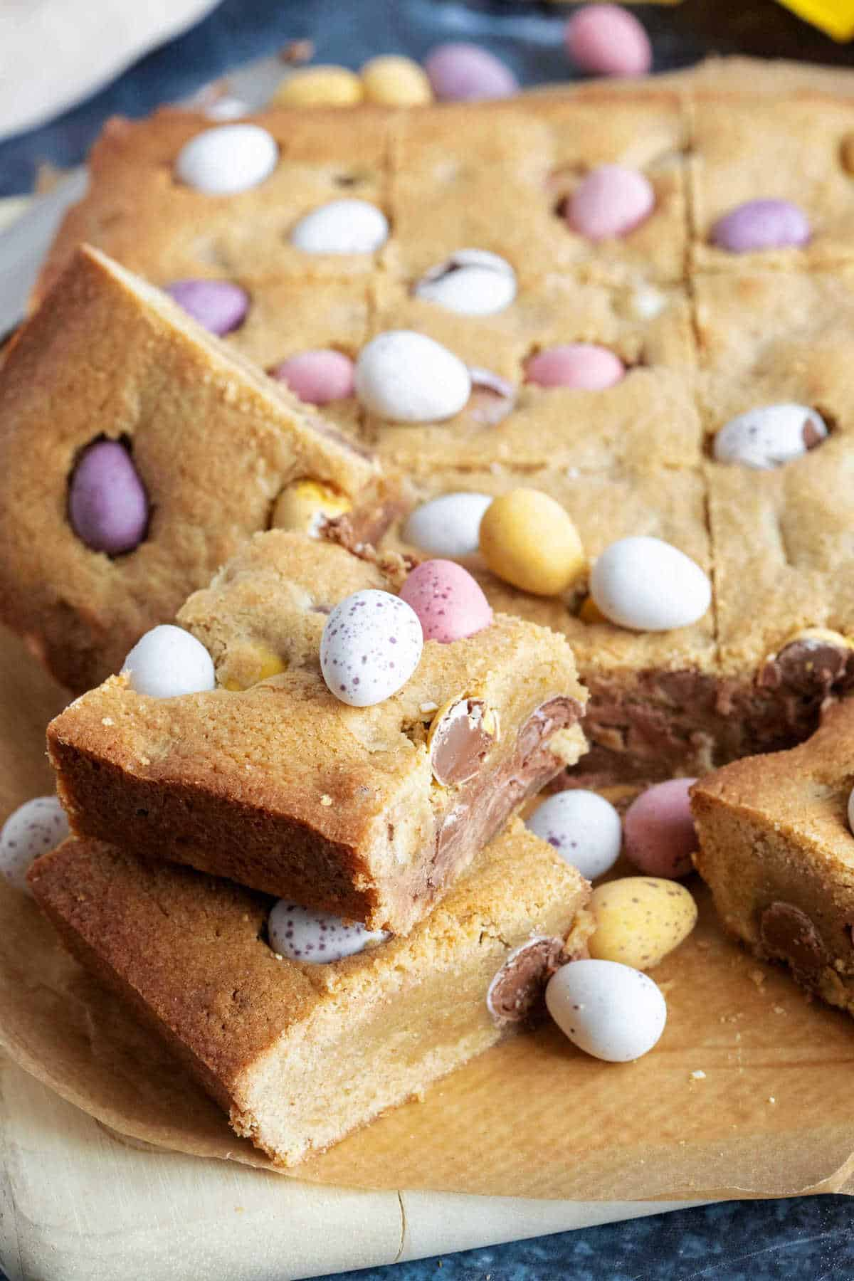 Easter cookie bars stacked on top of each other.