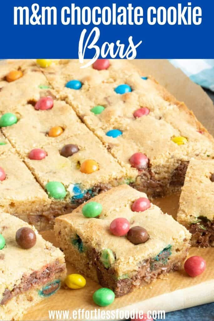M&M Cookie Bars Pin image with text overlay.