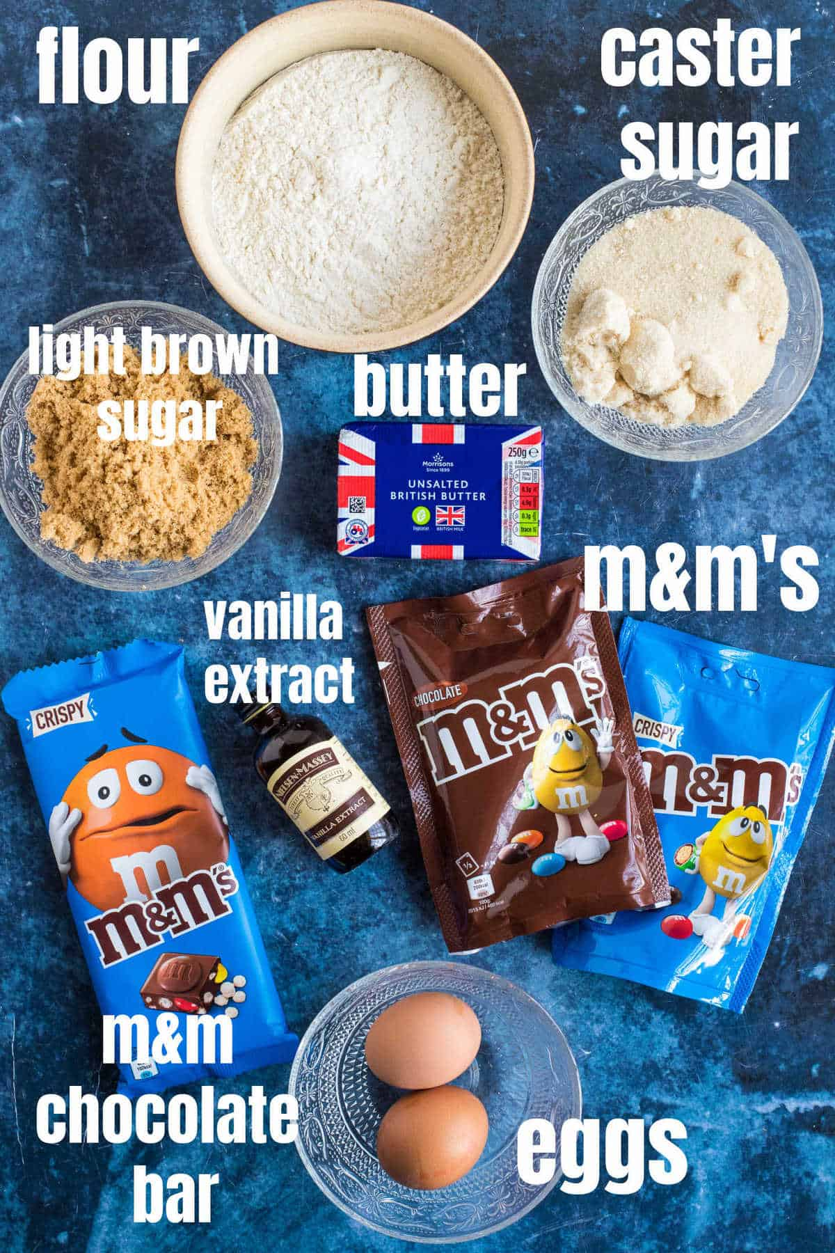 Ingredients needed for the M&M Cookie Bars.