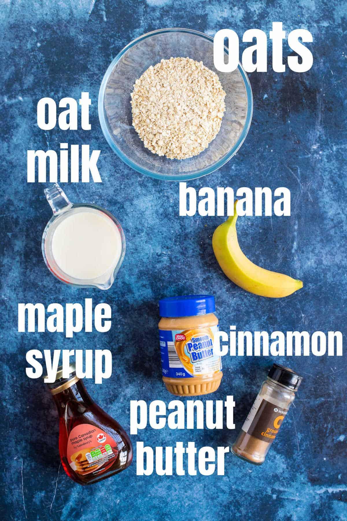 Ingredients for peanut butter banana porridge (oatmeal).