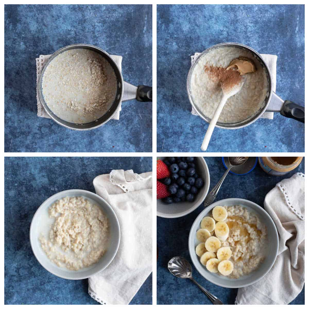 Step by step photo instructions for making peanut butter oatmeal.