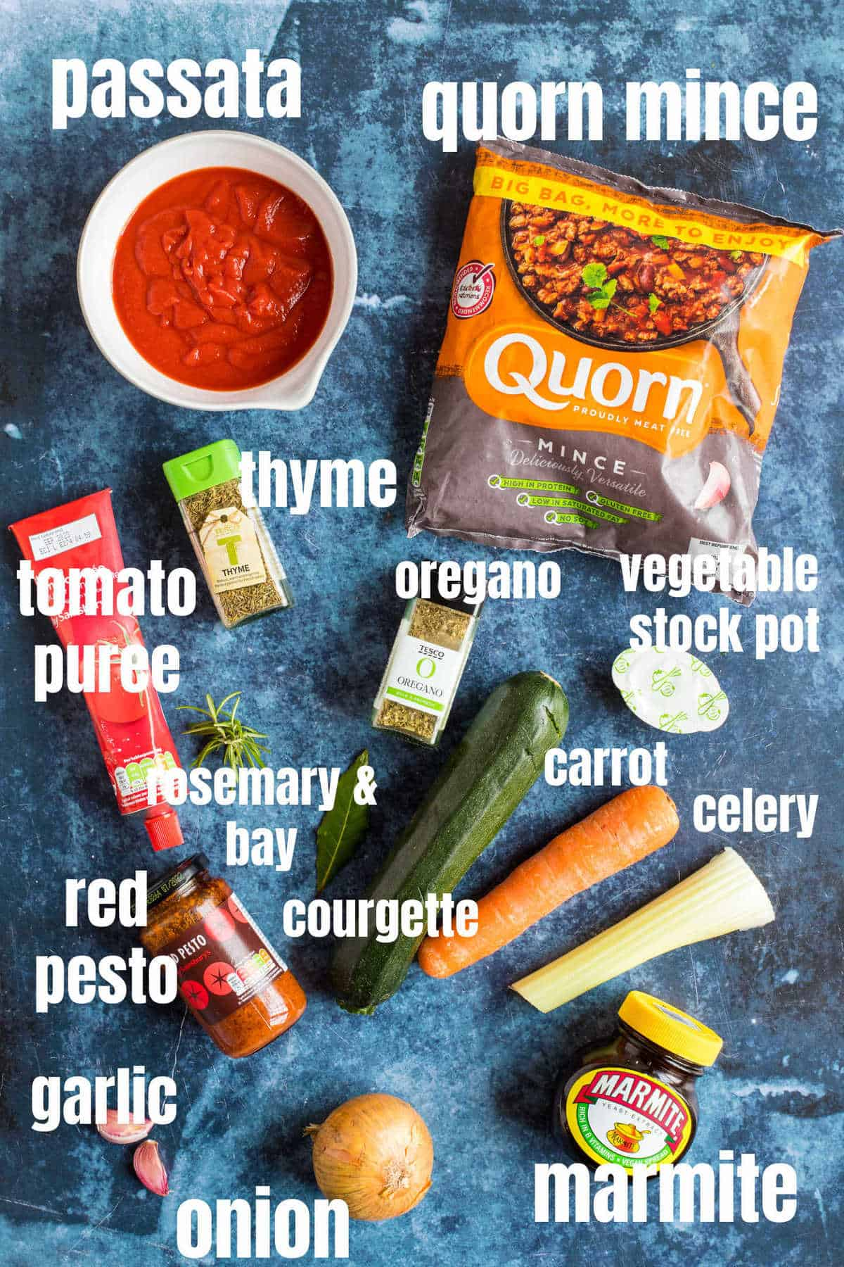 Ingredients for Quorn bolognese.