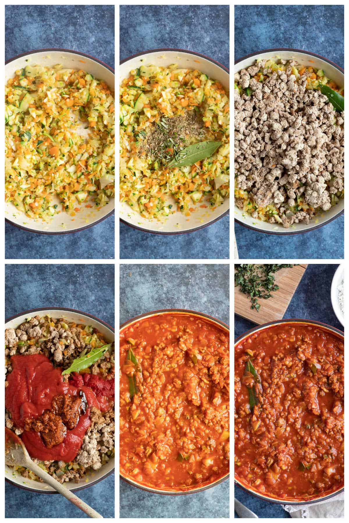Step by step photo's for Quorn bolognese.