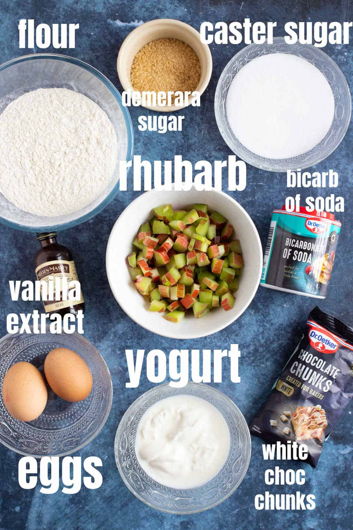 Ingredients for rhubarb muffins.