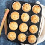 Rhubarb muffins in a baking tin.