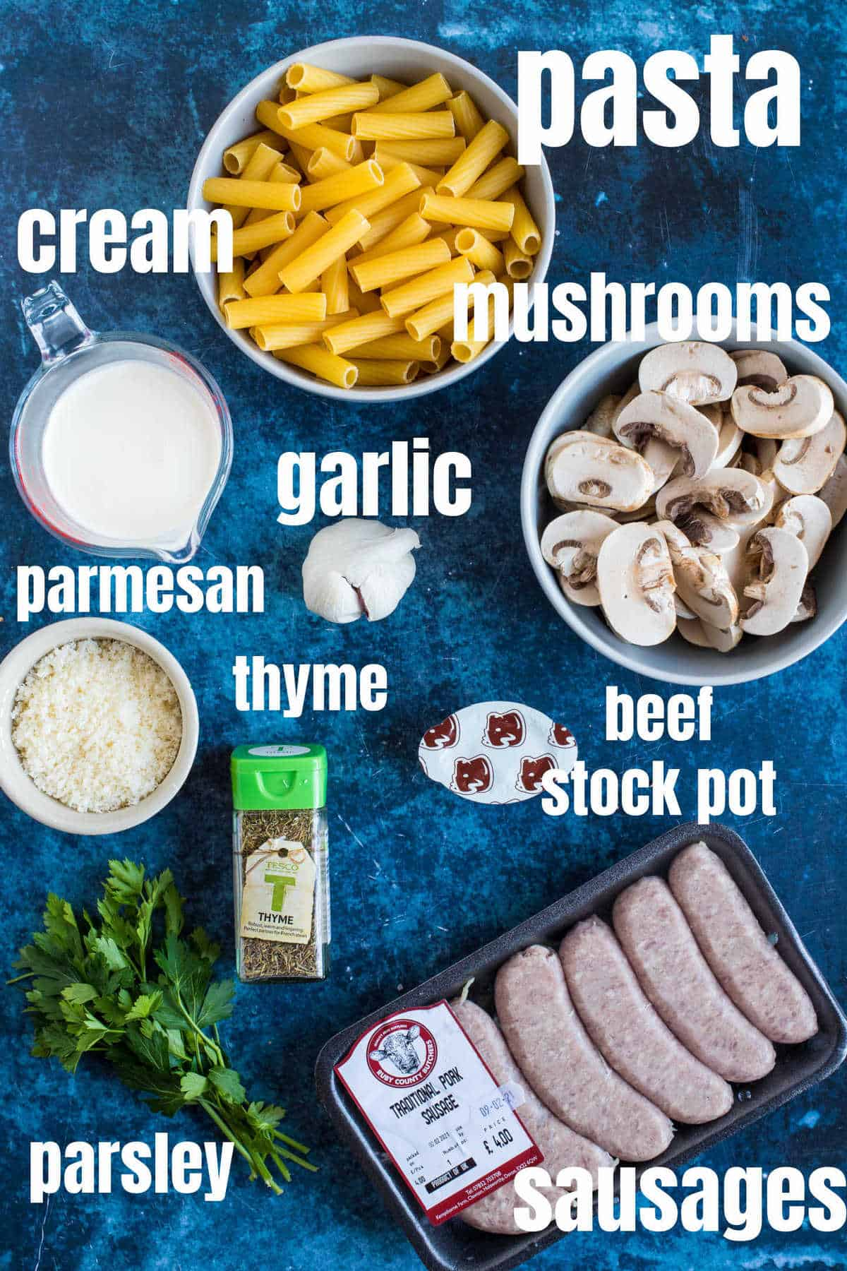 Ingredients needed for creamy sausage pasta recipe.