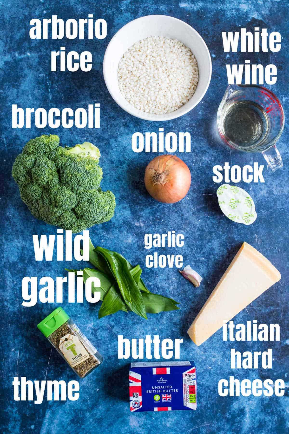 Ingredients for the wild garlic risotto.
