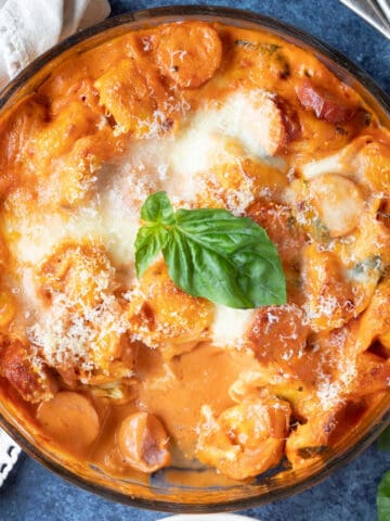 Baked tortellini with a cheesy topping.