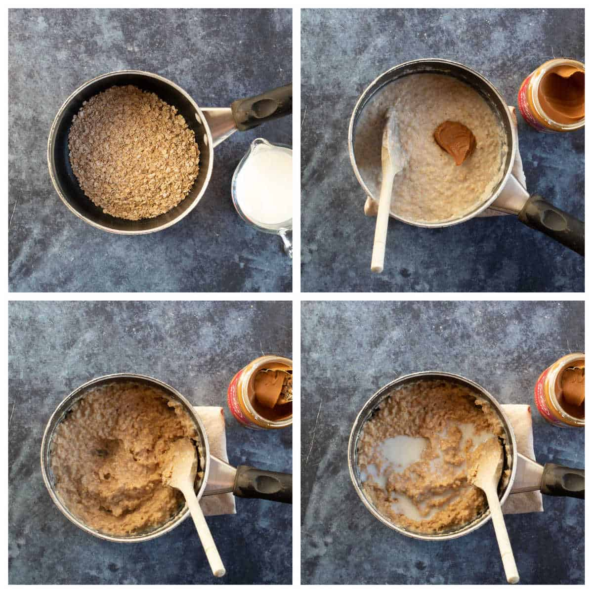 Step by step photo instructions for making Biscoff porridge.