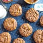 Double chocolate biscoff cookies on a cooling rack.