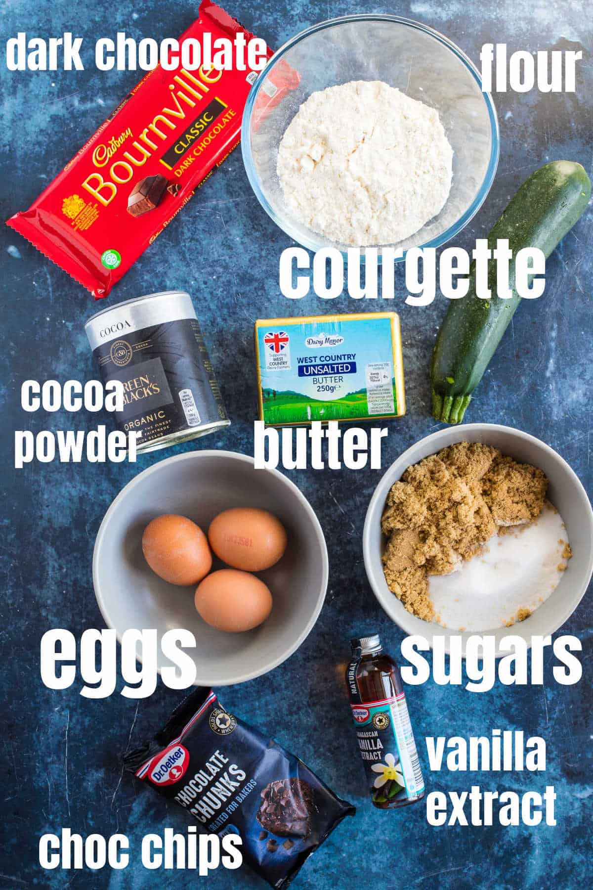 Ingredients for the courgette (zucchini) brownies).