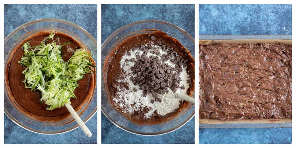 Step by step photo instructions for making courgette brownies part 2.