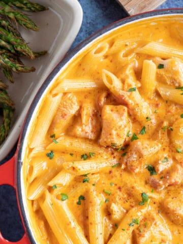 Creamy paprika chicken pasta.