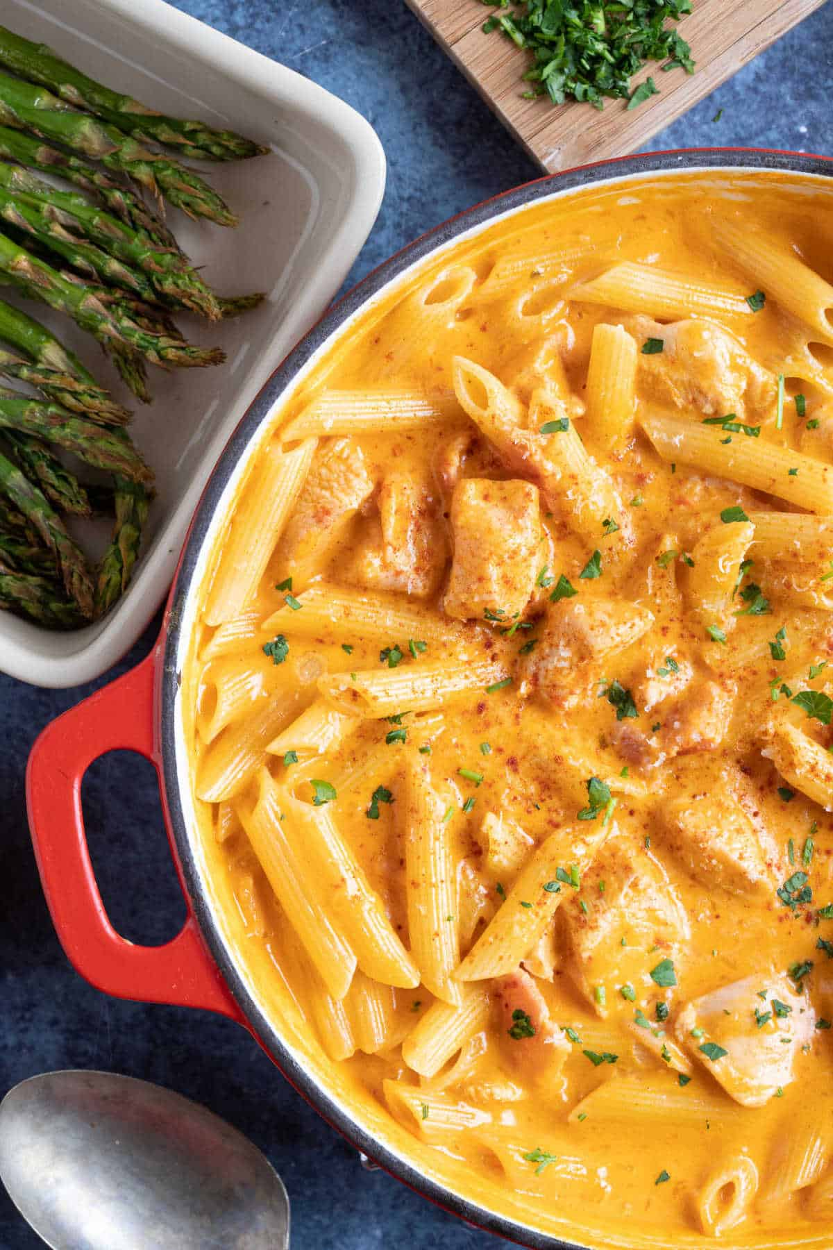 Paprika chicken pasta with a creamy sauce, served in a red pan.