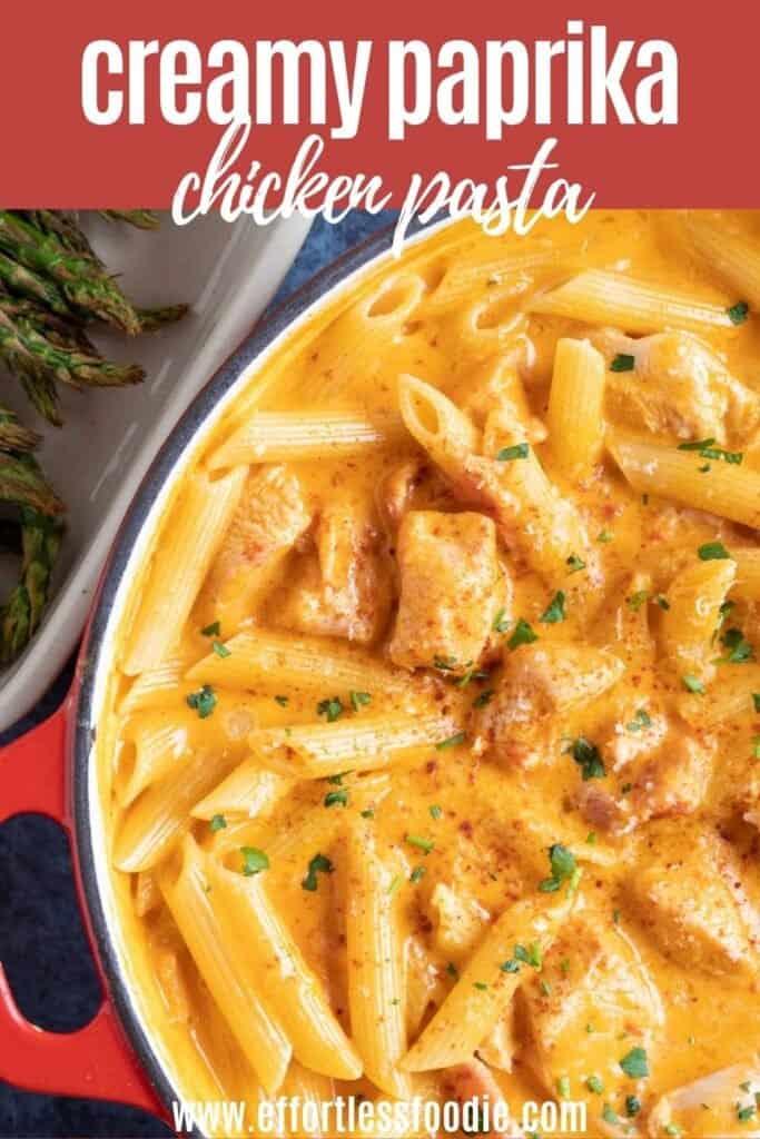 Creamy Paprika Chicken Pasta pin image.