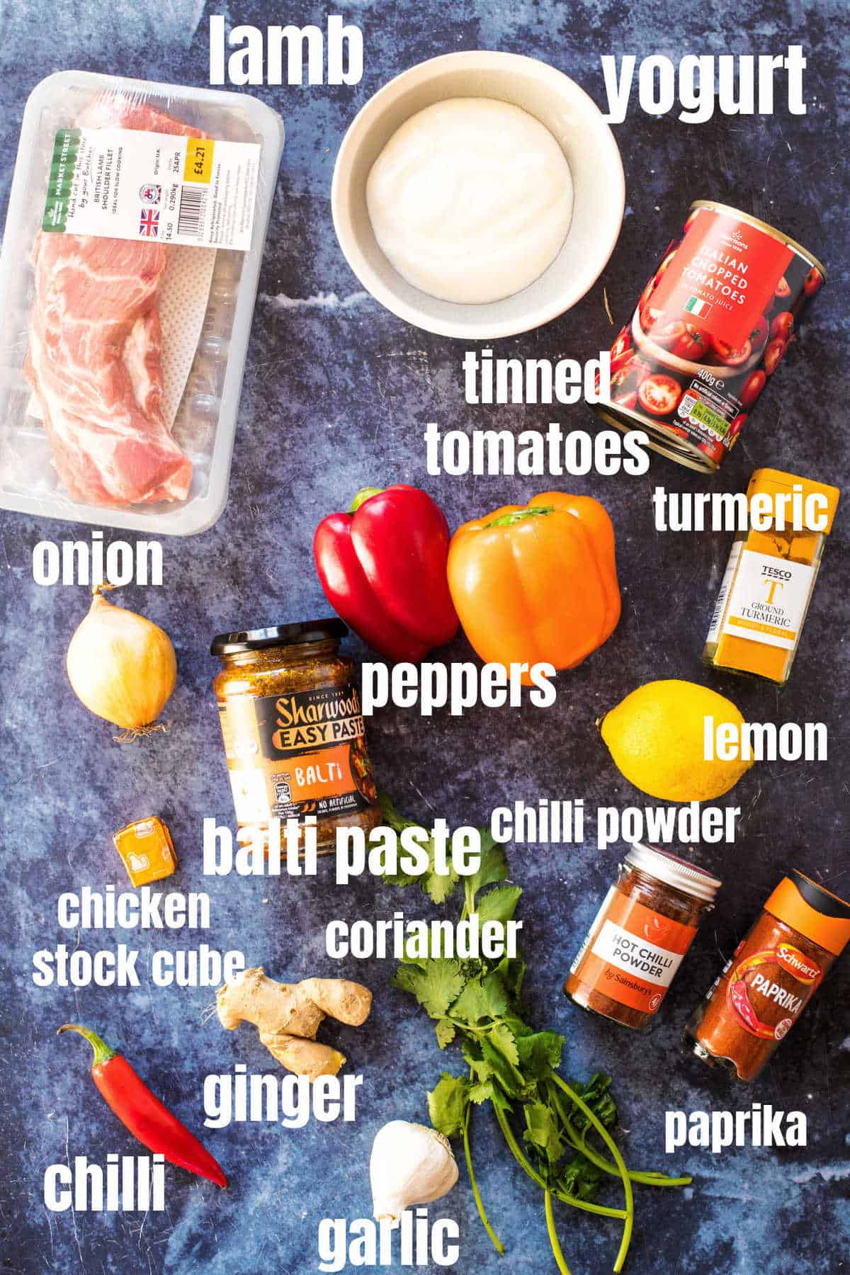 Ingredients need for the lamb balti.