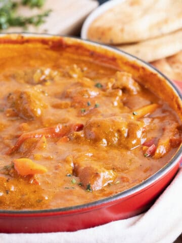 lamb balti with naan bread.