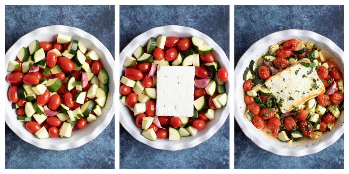 Step by step photo instructions for making baked feta pasta.