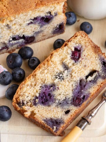 A slice of blueberry banana bread.