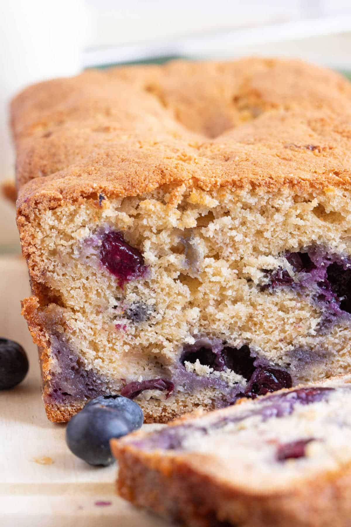 Close-up of the banana blueberry loaf cake.