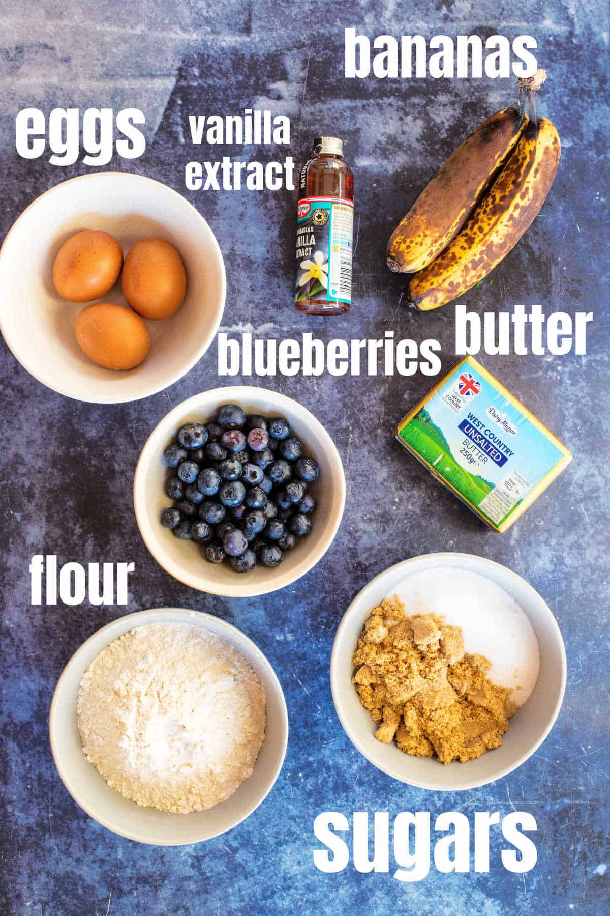 Ingredients for blueberry banana bread.
