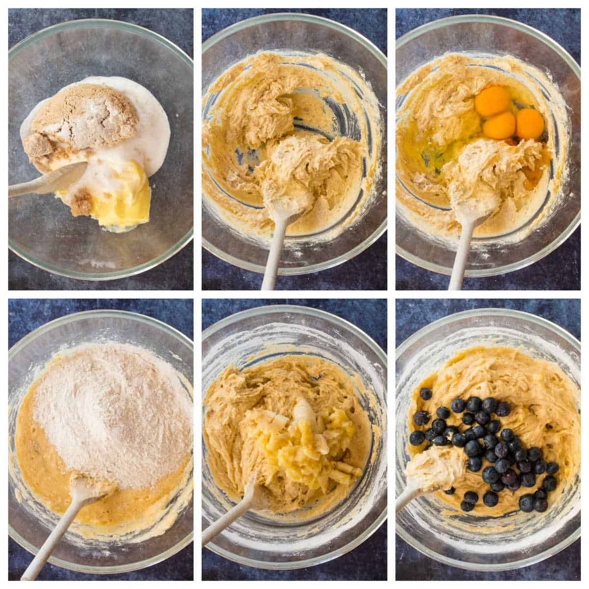 Step by step photo instructions for making the blueberry banana loaf cake.