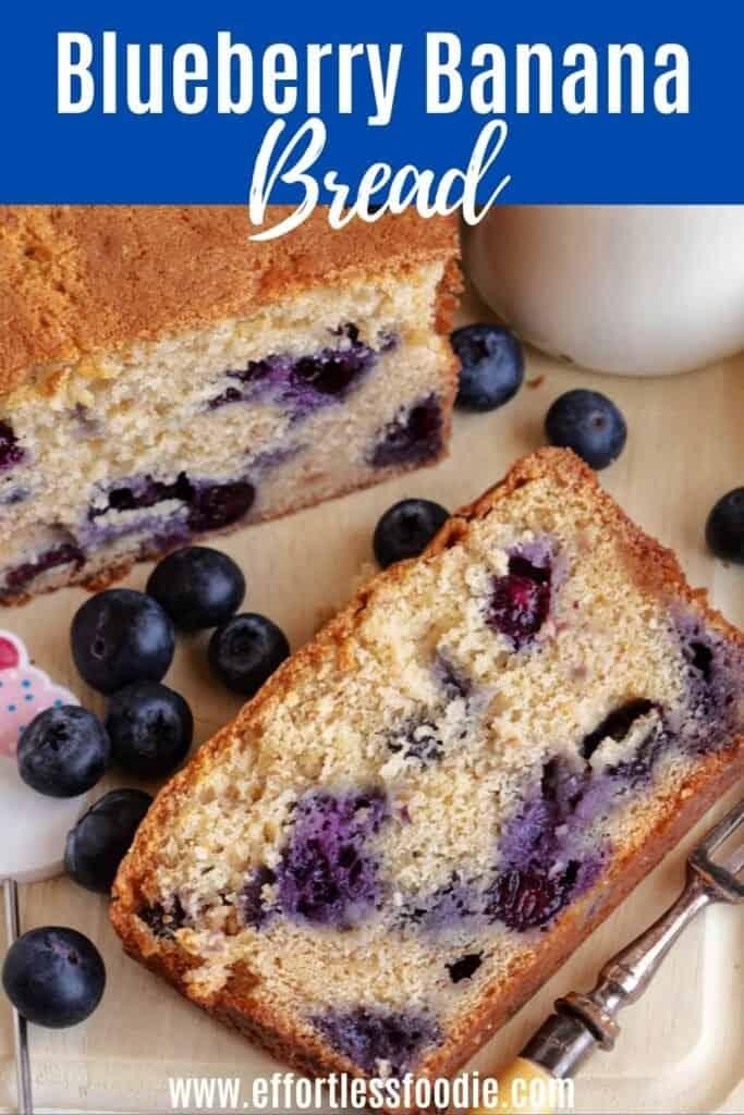 Blueberry banana bread pin image.