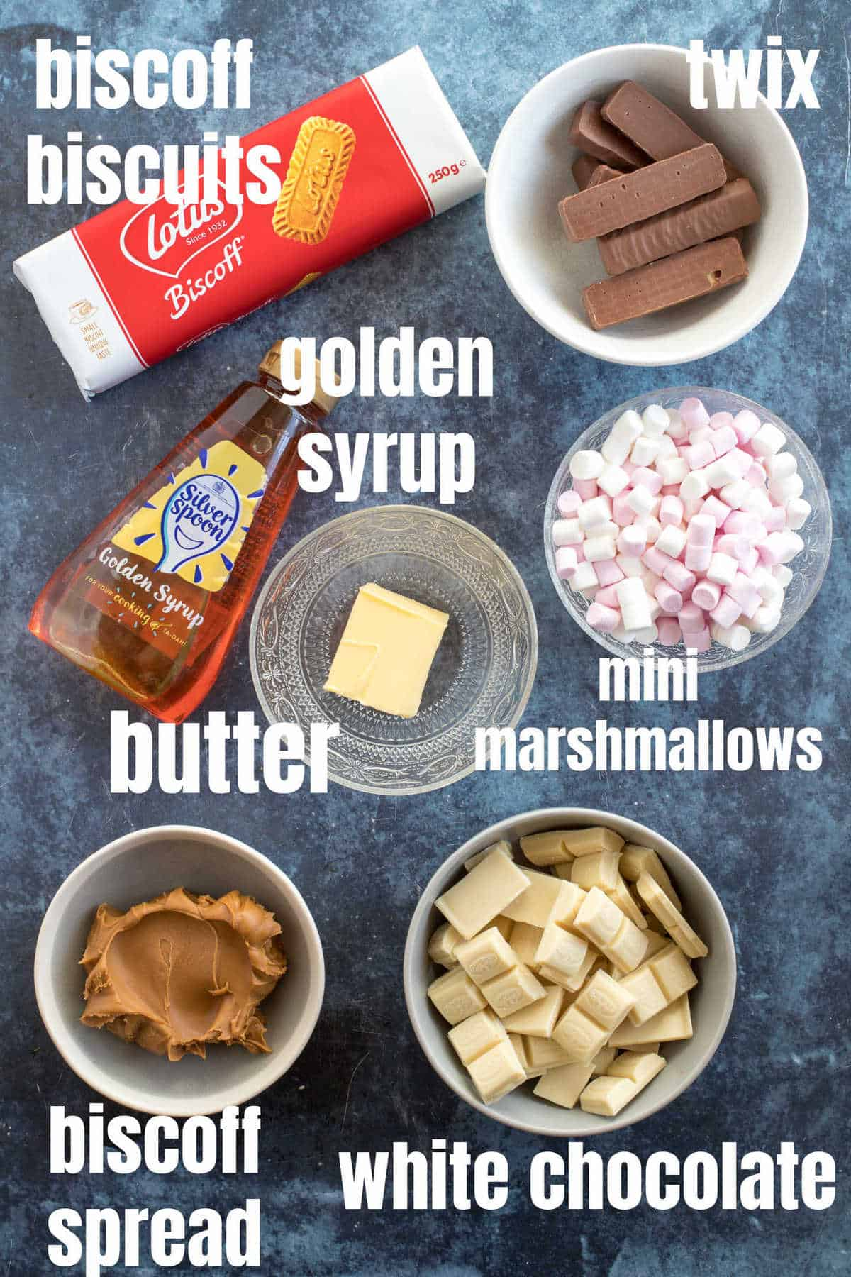 Ingredients for biscoff rocky road.