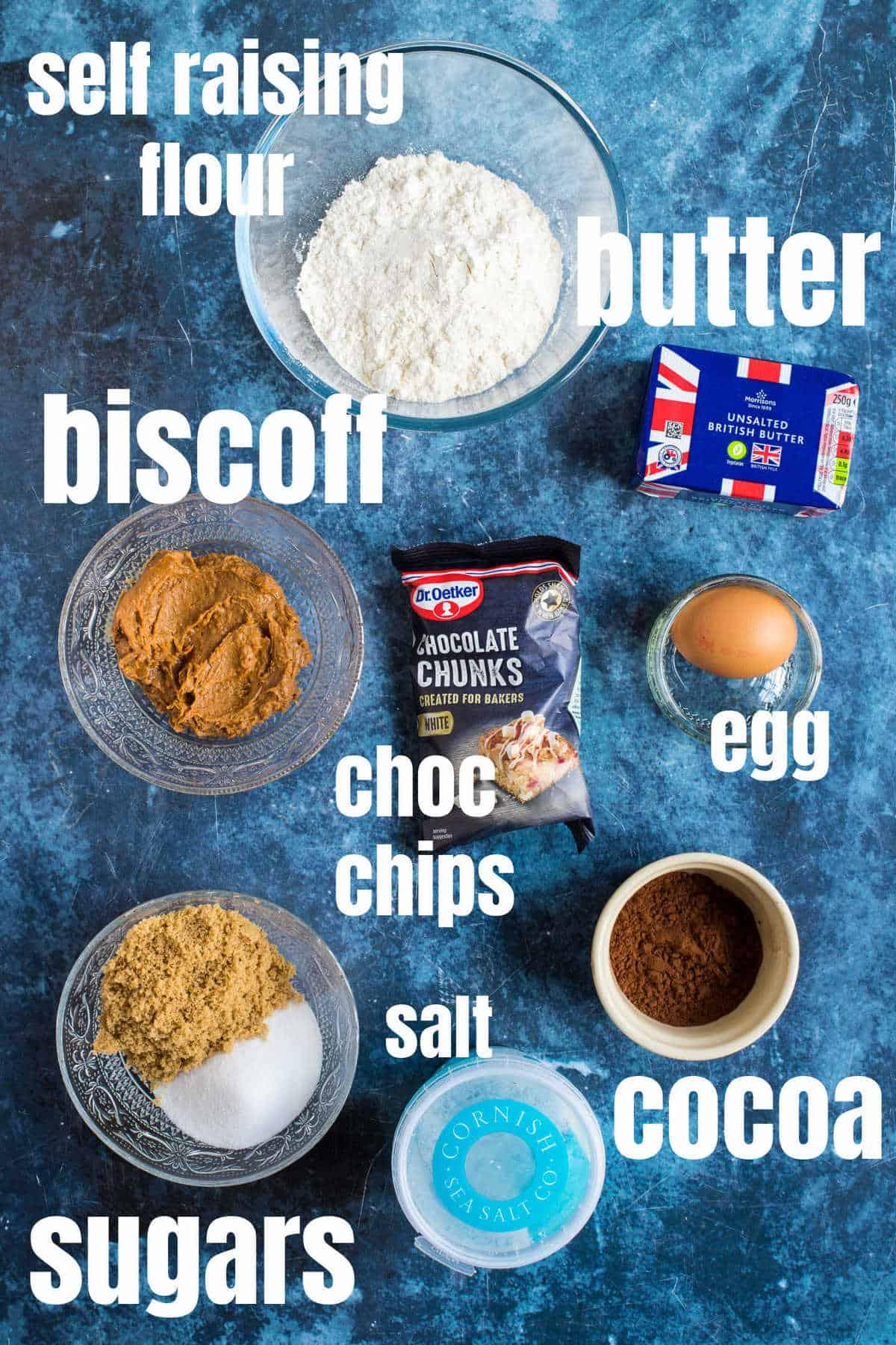 Ingredients needed for chocolate biscoff cookies.