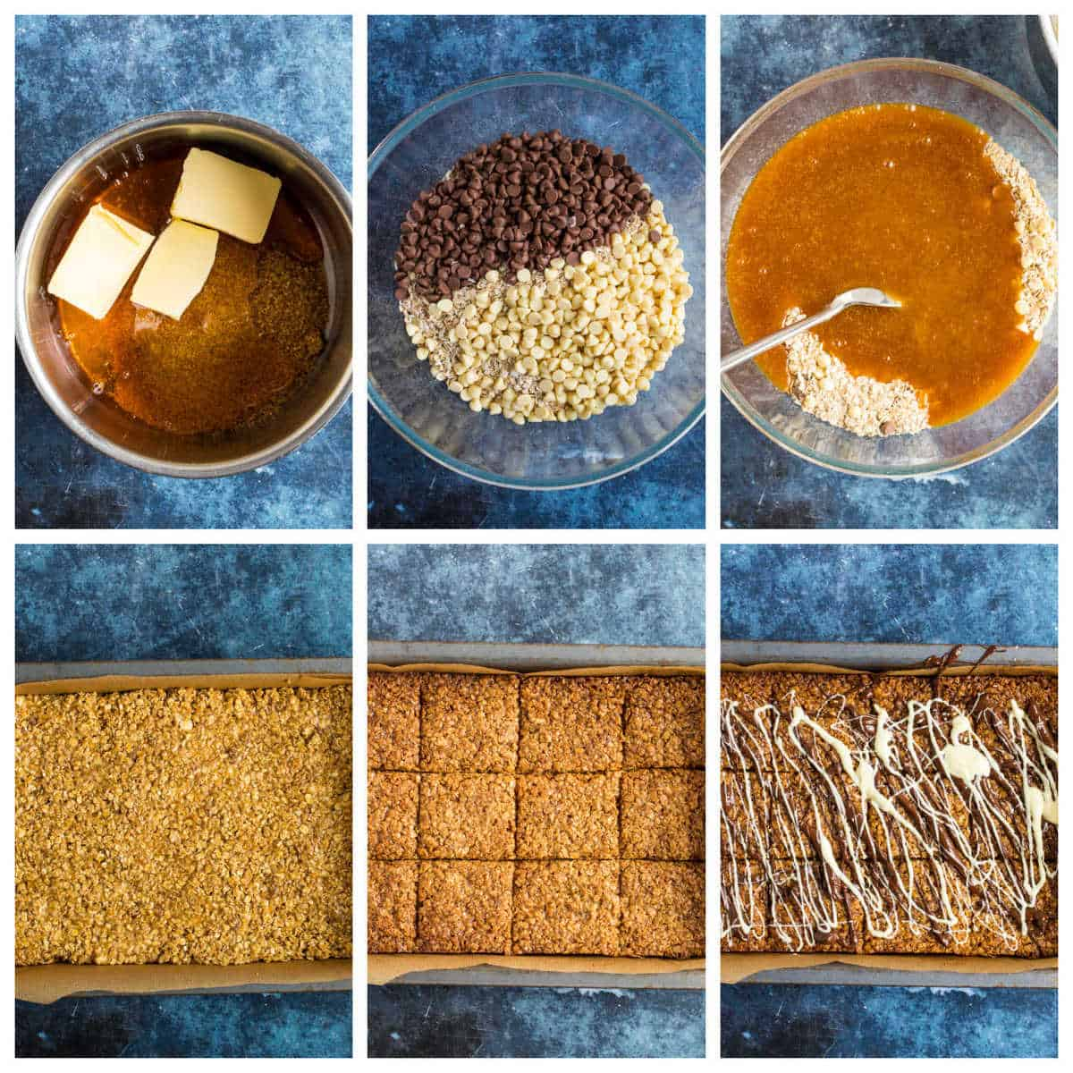 Step by step photo instructions for making chocolate flapjacks.