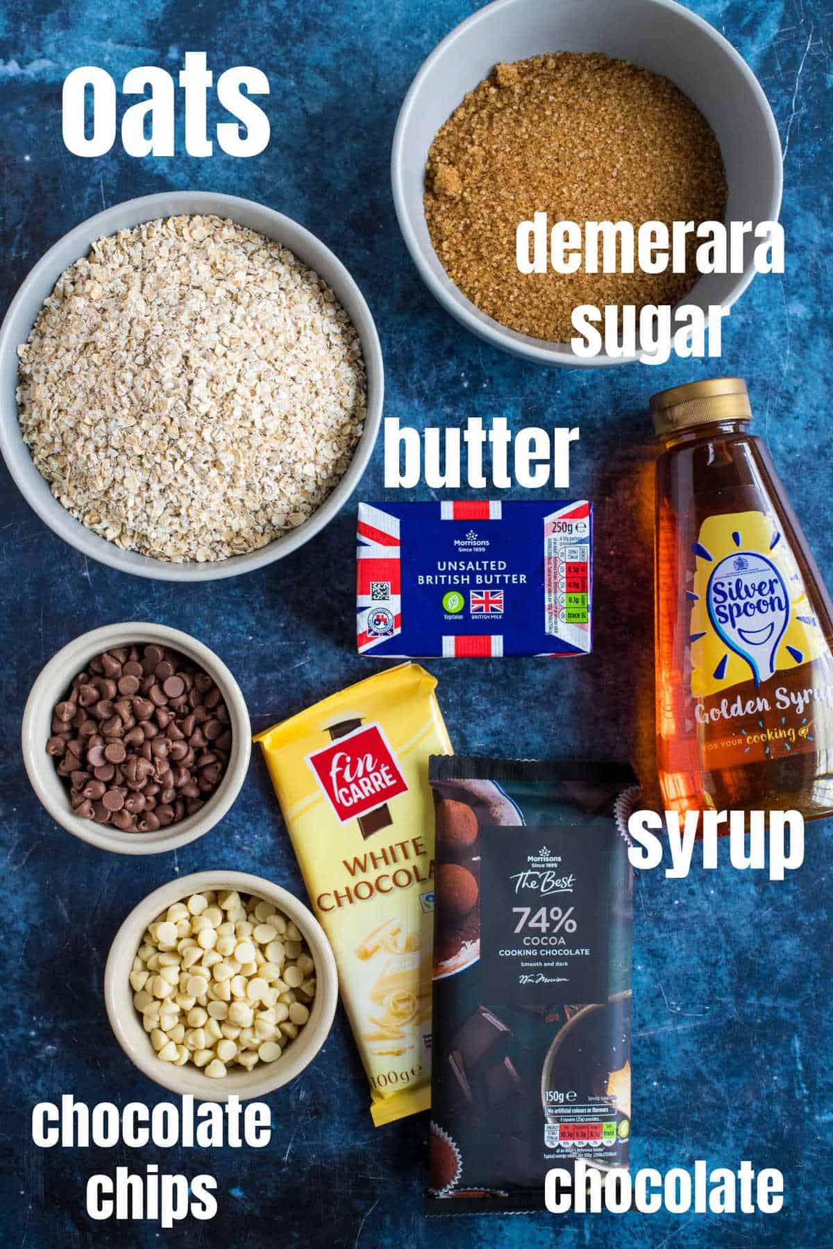 Ingredients needed to make chocolate chip flapjacks.
