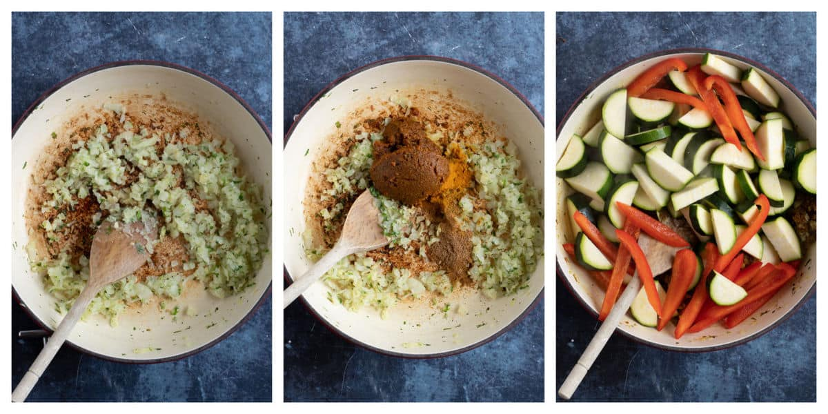 Step by step courgette curry photo instructions.