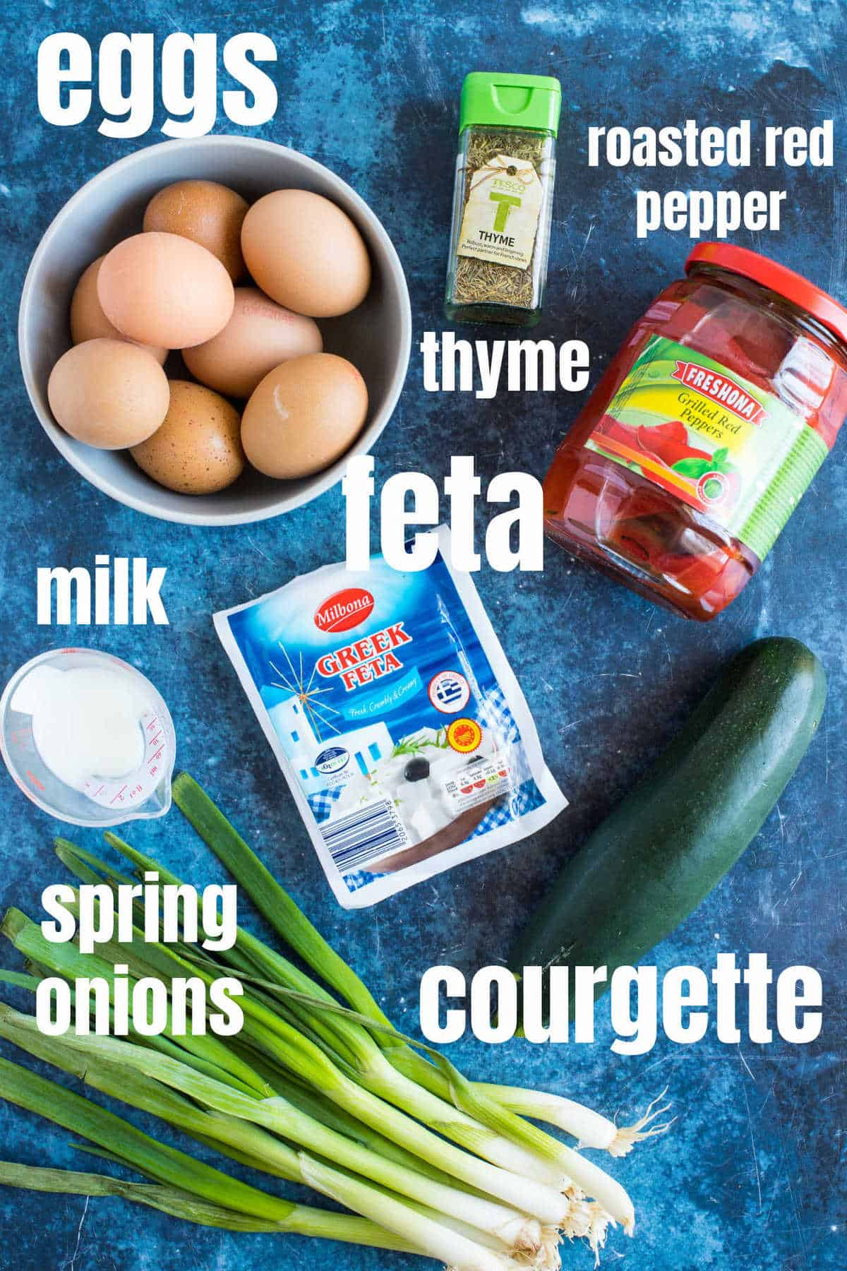 Ingredients for the courgette and feta frittata.