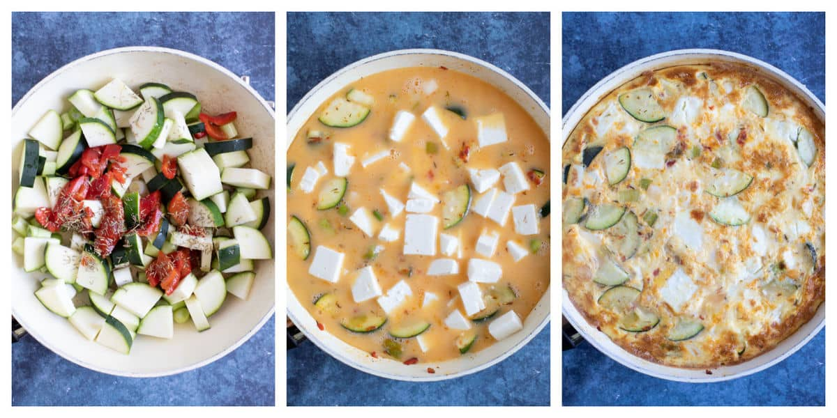 Step by step photo instructions for making courgette frittata.