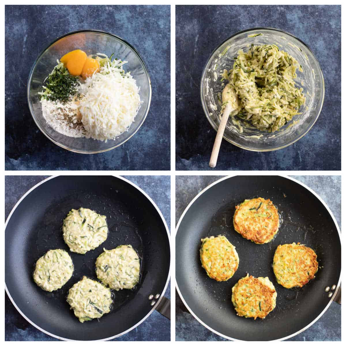 Step by step photo instructions for making courgette fritters.