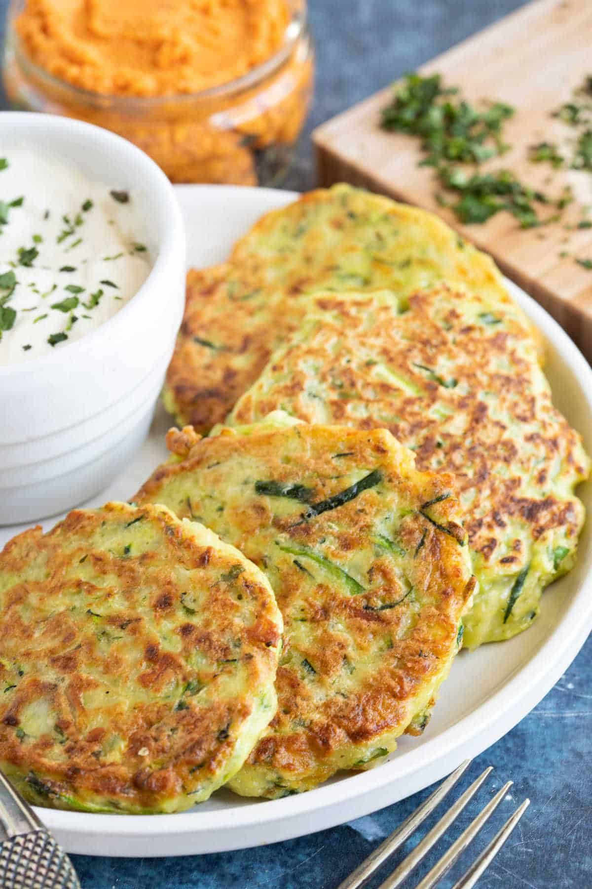 Courgette and halloumi firtters.