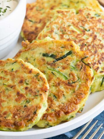 Courgette fritters with a yogurt dip.