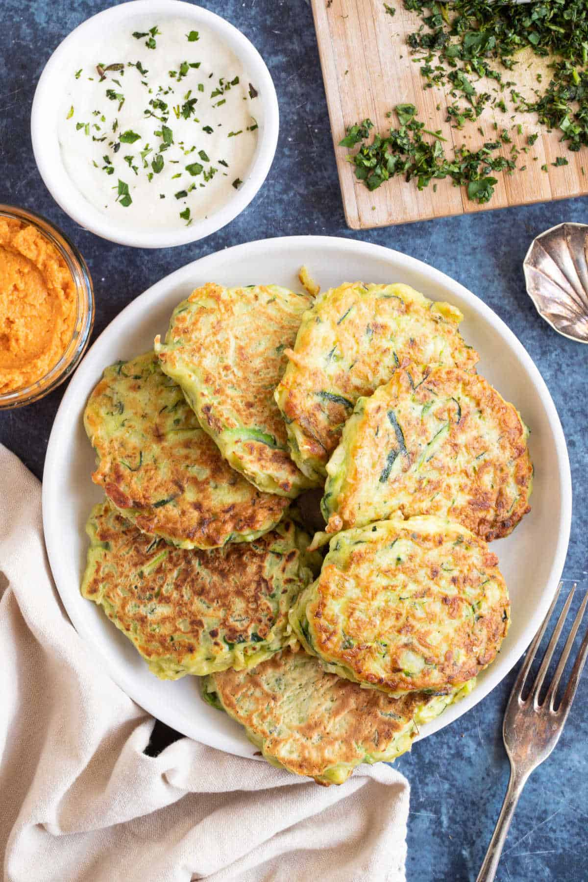 A plate of courgette and halloumi fritters.