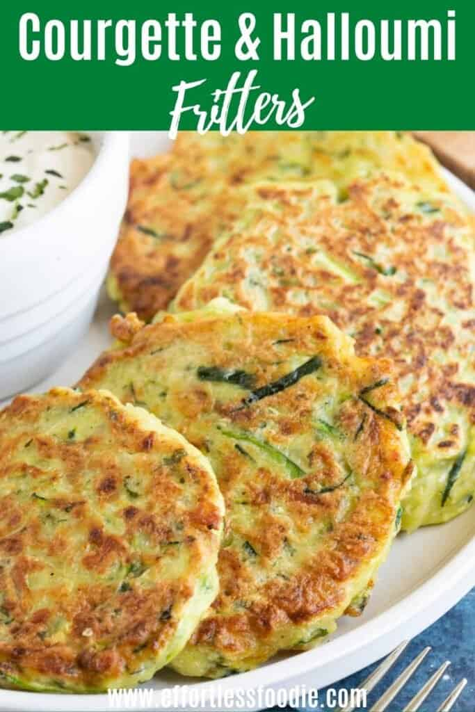 Courgette fritters pin image.