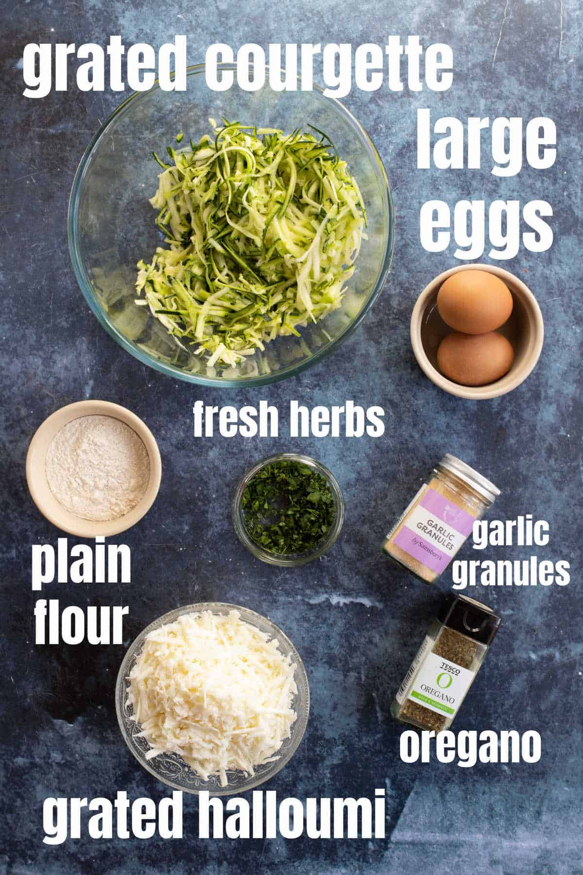 Ingredients for courgette fritters.