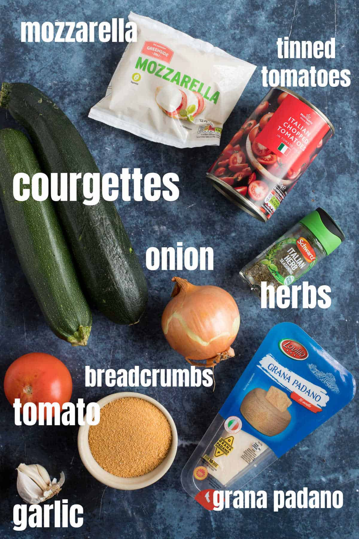 Ingredients needed for the courgette and tomato gratin.