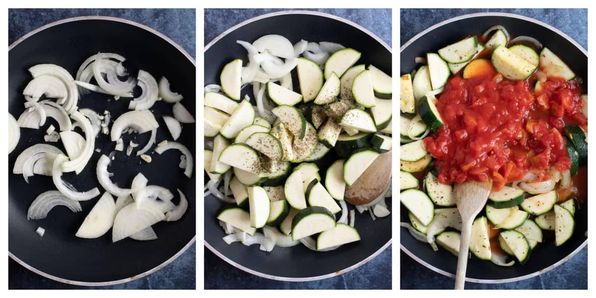 Step by step instructions for making the cheesy courgette and tomato bake.