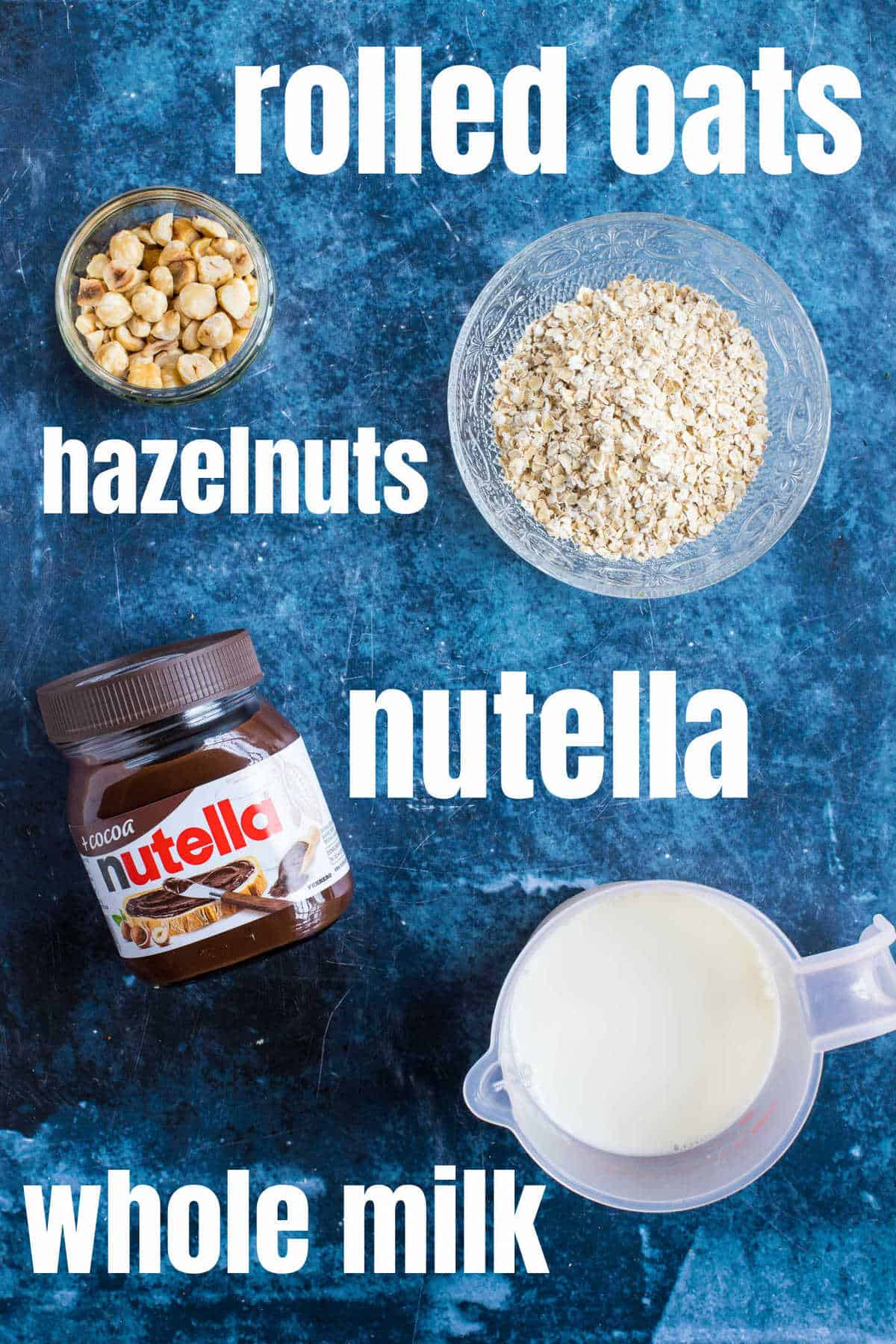 Ingredients needed for Nutella porridge.