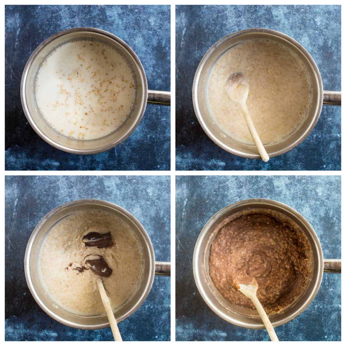 Step by step photo instructions for making Nutella oatmeal.