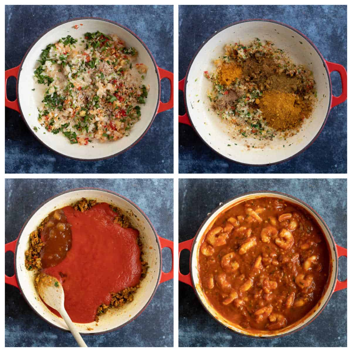Step by step photo instructions for making prawn bhuna.