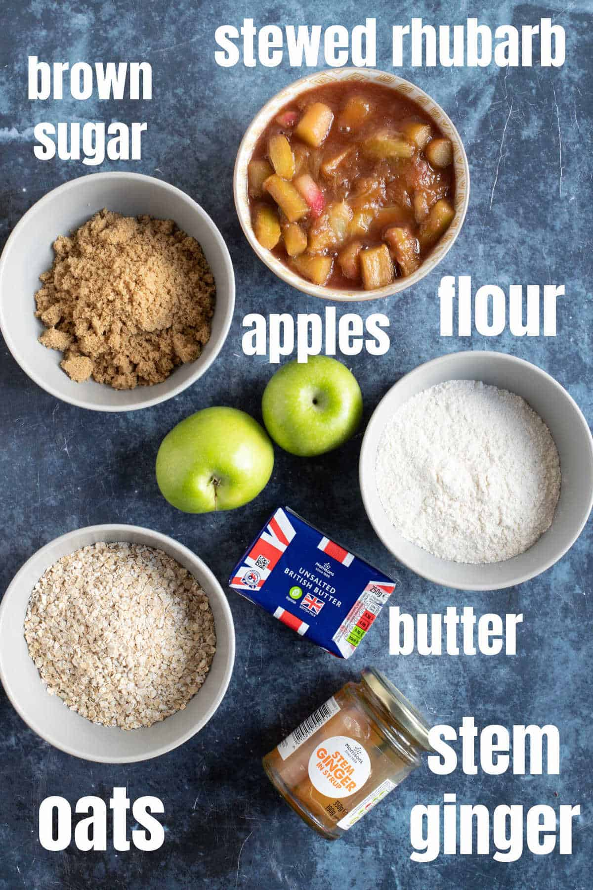 Ingredients for rhubarb and ginger crumble.