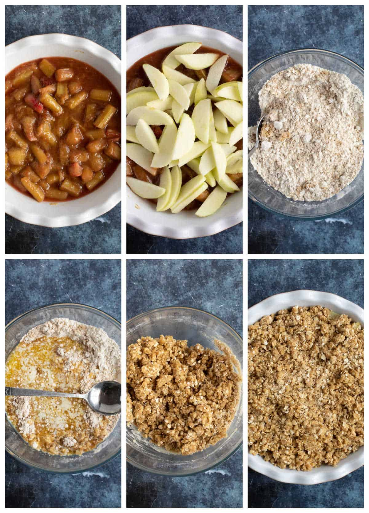 Step by step photo instructions for making rhubarb crumble.