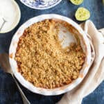 Rhubarb and ginger crumble in a pie dish.