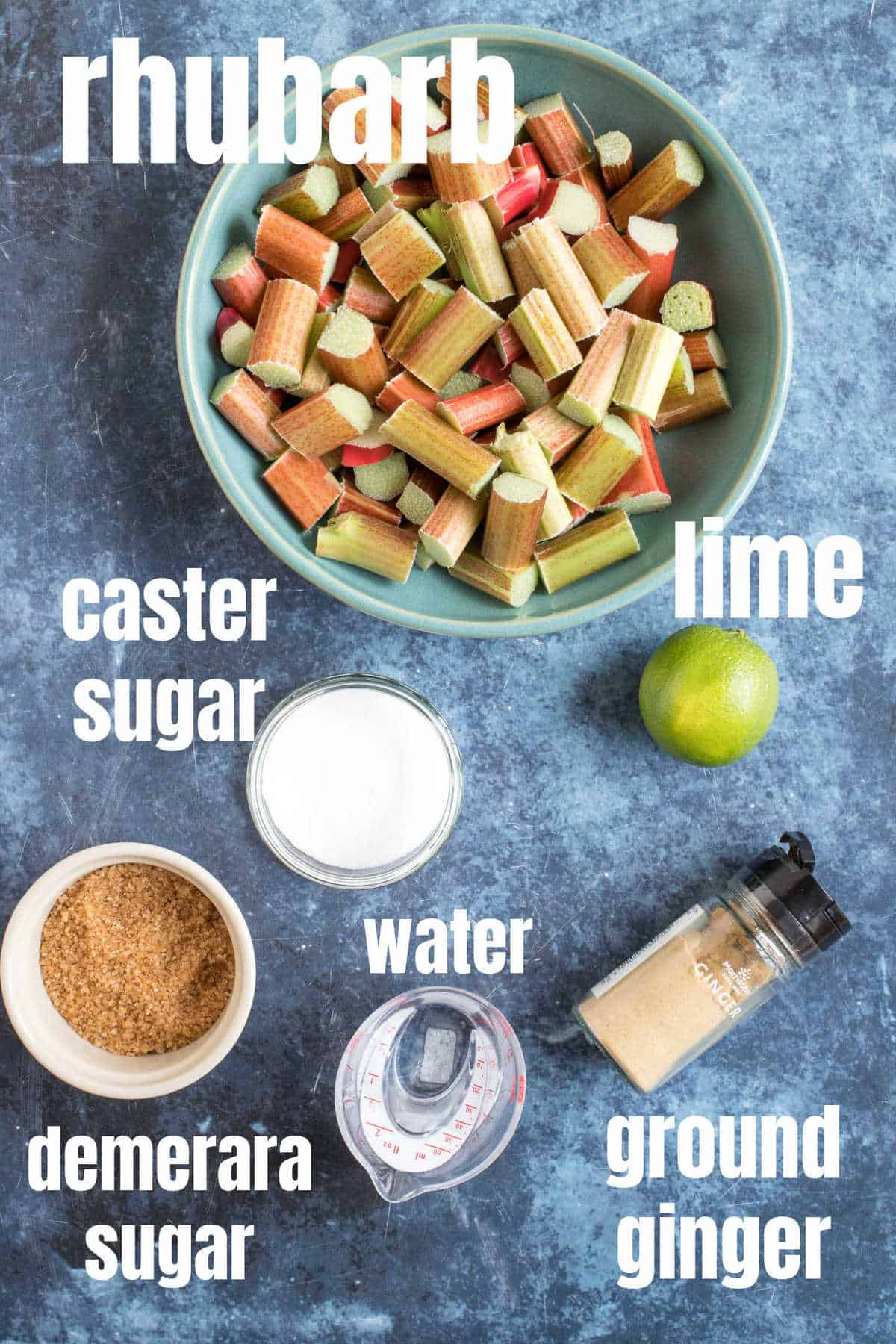 Ingredients for stewed rhubarb.