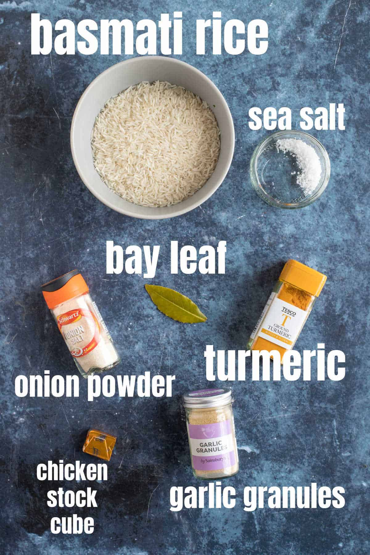 Ingredients for turmeric rice.